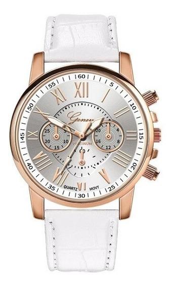 Relógio Feminino De Luxo Pulseira De Couro Branca Geneva Top