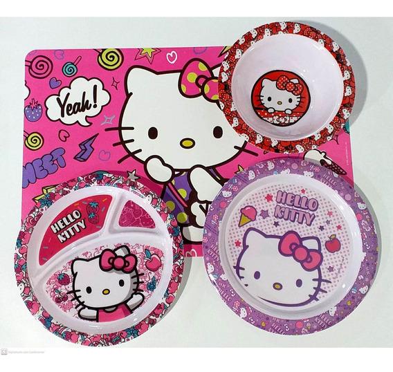 Kit Refeição Infantil Melamina 4 Peças Hello Kitty Gedex