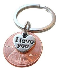 Te Amo Corazón Encanto En Capas Sobre 2.014 Penny Llavero An