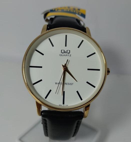 Relógio Q&q Dourado Fundo Branco Pulseira Couro - Q854-101y