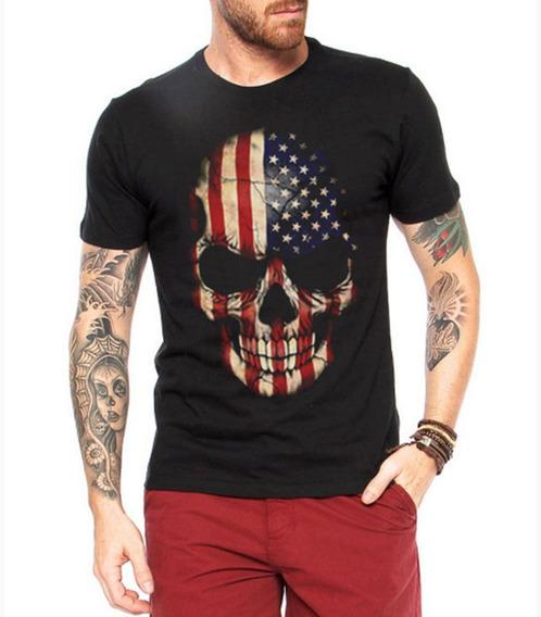 Camiseta American Skull Black Caveira Camisa Harley Davidson