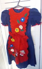 Vestido Usado De Festa Junina Azul E Vermelho Roupa