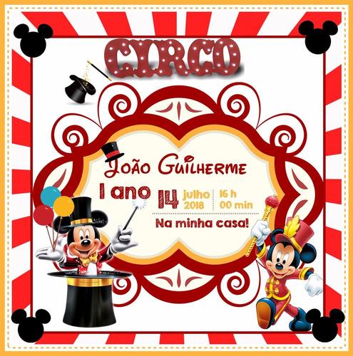 Imagem 1 de 1 de Arte Convite Digital Mickey Circo