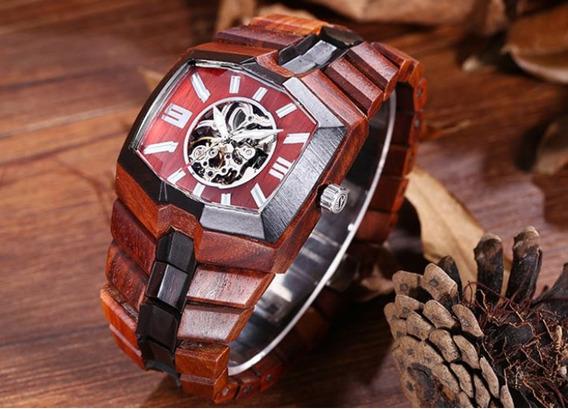 Relógio Bewell Venon Sandaloow Madeira Vermelha Automático