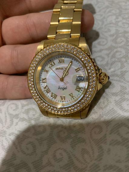 Relógio Invicta Angel 22875 Feminino Original Banhado A Ouro