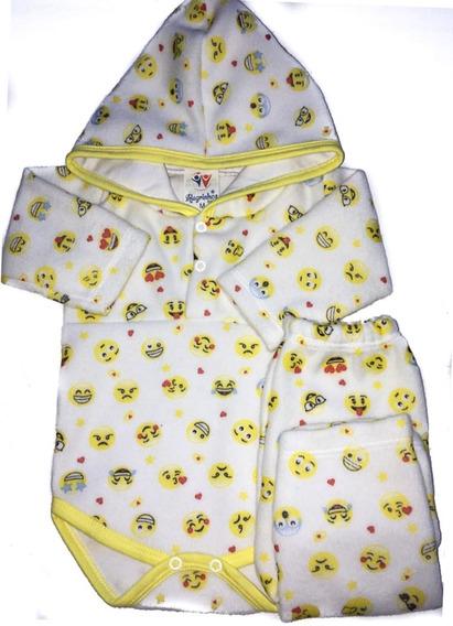 Conjunto Body Bebê Pijama Soft Com Capuz - Emojis