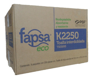 Toalla Interdoblada Cafe Eco Fapsa 8 Paquetes Con 250 Hojas