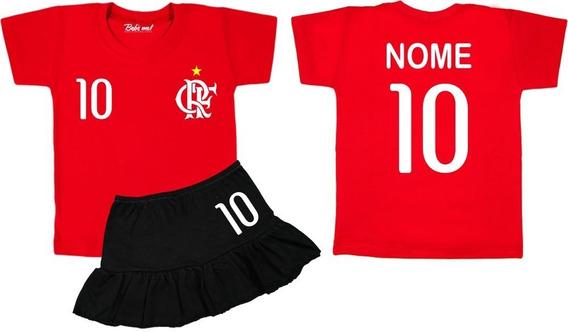 Conjunto De Time Flamengo Menina Camiseta Infantil E Bebê Com Nome Personalizado