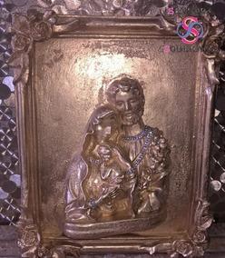 Escultura / Quadro 3d Sagrada Família- Dourado