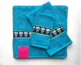 Tollas Betsey Johnson Color Azul Aqua Tres Piezas Skull