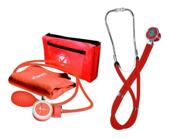 Kit Baumanometro Aneroide Rojo Trans+estetoscopio Rappaport