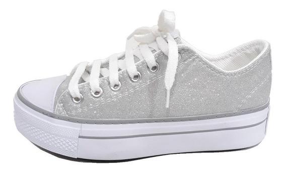Zapatillas De Lona De Mujer Cata Base Alta Glitter
