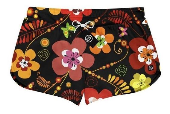 Short Feminino Moda Praia Patricinha Floral Flores Ref Es-02