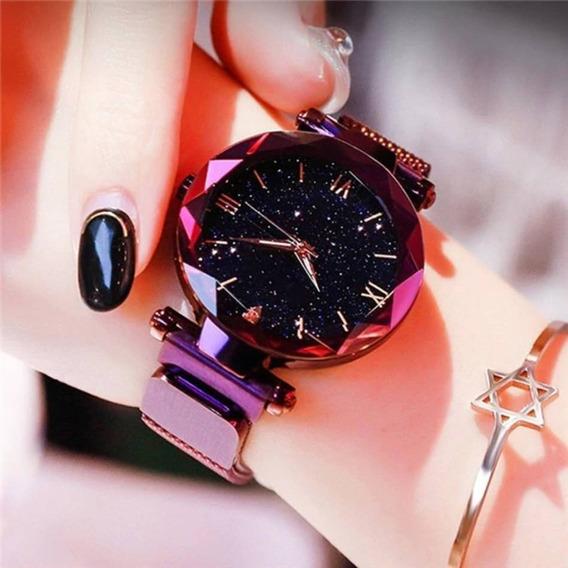 Relógio Feminino Luxo Céu Estrelado Pulseira Magnética