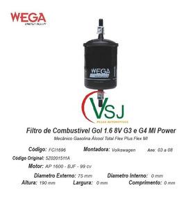 Filtro Combustivel Gol 1.6 8v G3 E G4 Mi Power Fci1696
