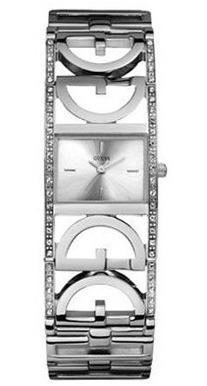 Relógio Guess Feminino Original Prateado E Strass Funciona
