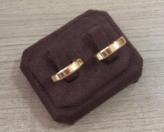 Aliança Ouro 18k 750 4mm 3 Gramas Chanfrada (1 Unidade)