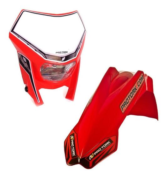 Paralama Dianteiro Pro Tork Motocross + Farol Trilha Amarelo