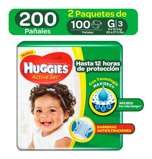 Pañales Huggies Active Sec Etapa 3 - Unidad a $652