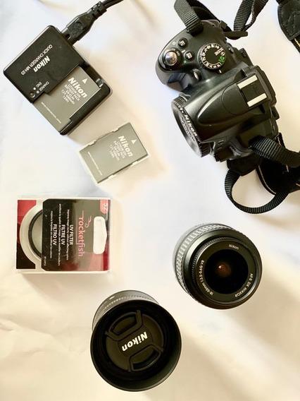 Kit Nikon D5000 C/ 2 Lentes, Bateria Extra, Filtro E Mochila
