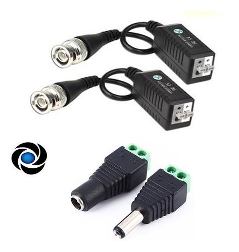 Pack Balun Conector + Plug Dc Macho Hembra Utp Cctv Camara Seguridad Dvr