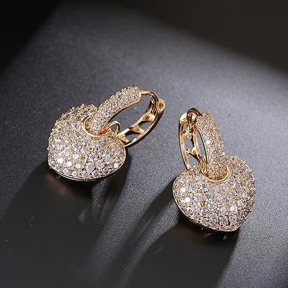 Brinco Feminino Folheado Ouro Coração Prata Dourado Zircônia C1030