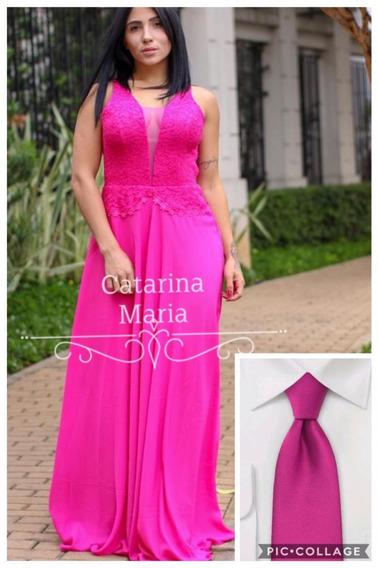 Vestido Longo Festa Madrinha Formatura Pink Com Gravata #01