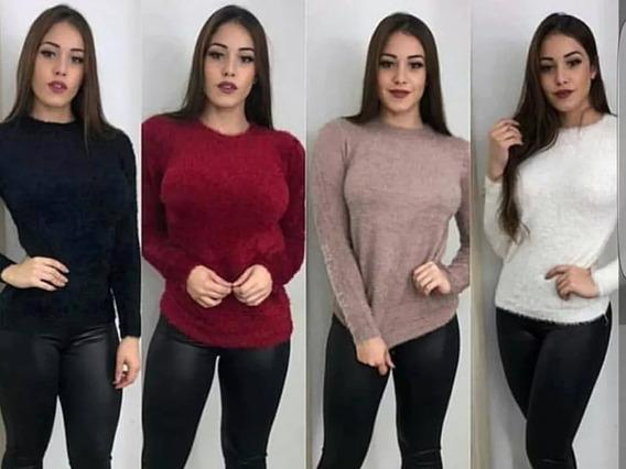 Blusa Camisa Feminina Manga Longa De Peludinha Casual
