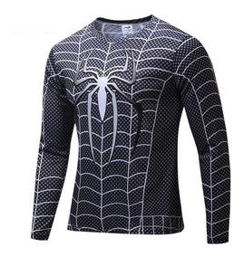Camisa Camiseta Super Heróis Homem Aranha Manga Longa Preta