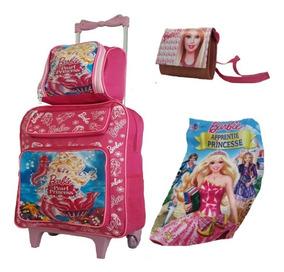Mochila Escolar Feminina Infantil Barbie Rodinha Kit Barata