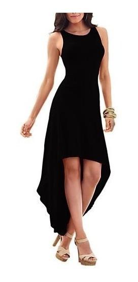 Vestido Negro Largo Elegante Sexy Y Juvenil En Lycra 193