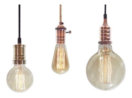 Imagen 1 de 9 de 3 Porta Lamparas + Lamparas Filamento + Cable Textil Vintage Enviogratis