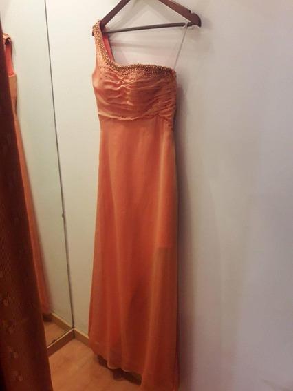 Vestido De Fiesta Largo Naranja Cosano