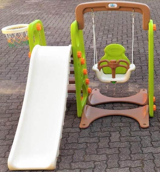 Playground Infantil 3 Em 1 Balanco Escorregador E Cesta De B