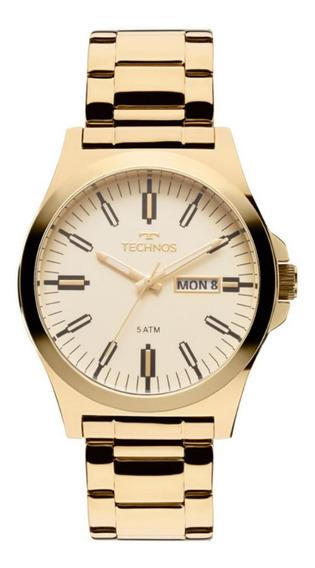 Relógio Masculino Technos Dourado Classic Steel Com Data