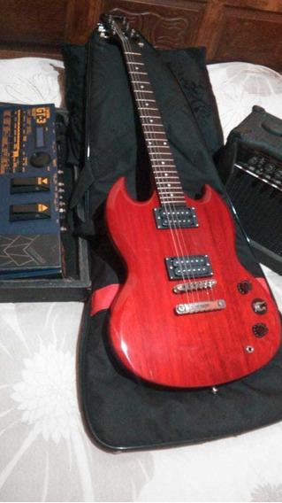 Kit Guitarra EpiPhone + Pedaleira Boss + Amplificador Cubo
