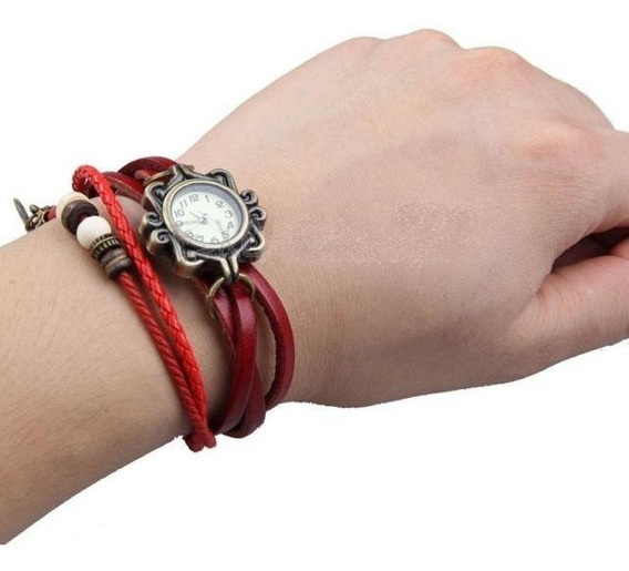 Relógio De Pulso Bracelete Vermelho - Pronta Entrega