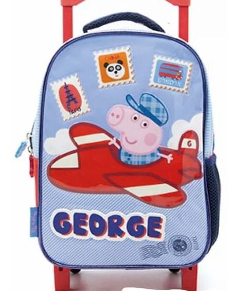 Mochila Con Carro Peppa Pig George 12``