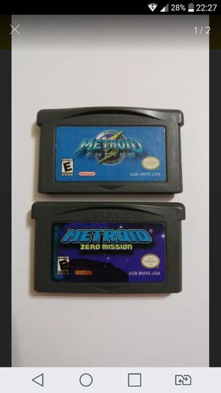 Metroid Fusion + Metroid Zero Mission Gba Originais Gravando