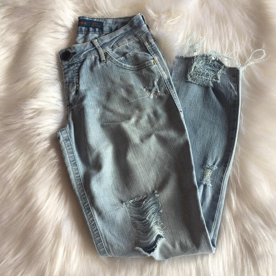 Calça Jeans Feminina Morena Rosa Customizada Inverno - Usada