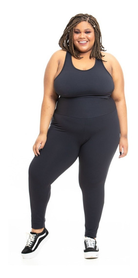 Legging Plus Size Wonder Size Lisa Emana® Plus Preta