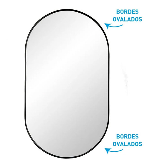 Espejo Baño Rectangular 40x70 Cm Tic Tac Black Marco Colgar