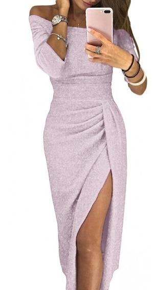 Sexy Elegante Vestido Lapiz Sin Hombros Brillo Metal 610566