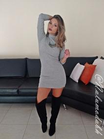 Vestido Feminino Tubinho Gola Alta Manga Longa Blogueiras