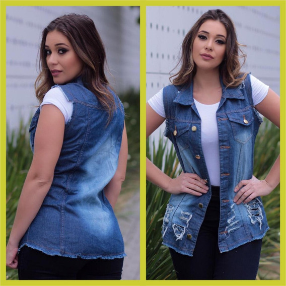 Maxi Colete Jeans Feminino Tendência Moda Blogueiras