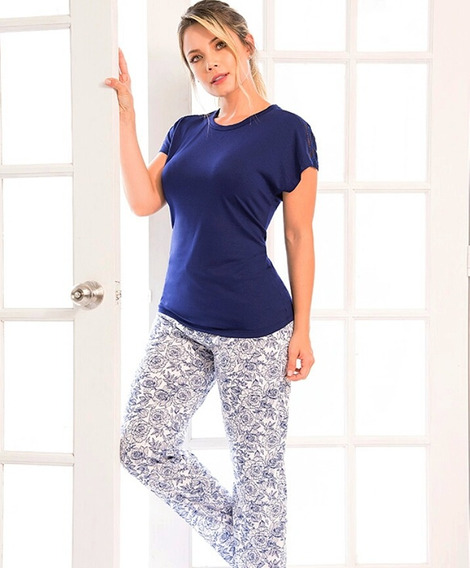 Pijama Mujer Rosas Azul Juvenil Pantalón Largo Multiuso