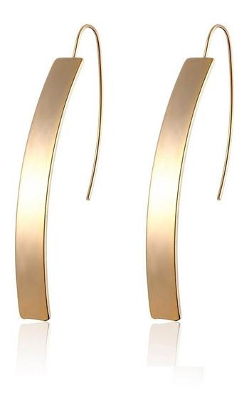 Brinco Feminino Dourado Longo Palito Folheado Ouro 18k C79