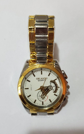 Relógio Masculino Luxo Dourado Luxo Mecanismo Japonês