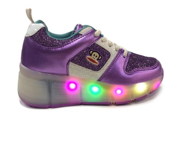 Zapatos Ruedas Y Luces Paul Frank - Niñas Pf165008 - Purple