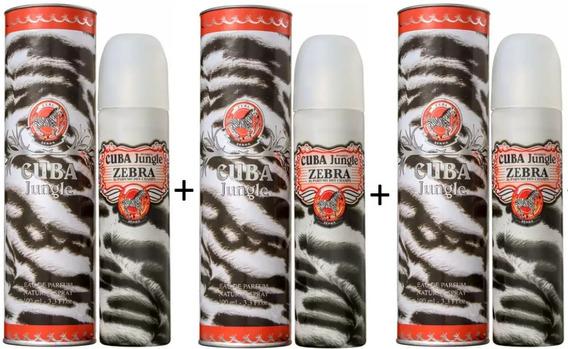3 Perfumes Cuba Jungle Zebra Eau De Parfum 100 Ml - Selo Autenticidade Adipec